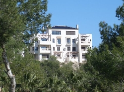 View of apartments from golf course