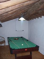 Pool table on relaxing mezzanine