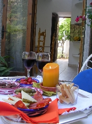 Tapas and wine on the terrace.