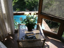 Windows overlook pool in natural setting
