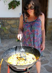 outside cooking, paella time!
