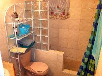 Fully tiled walk in shower with bench