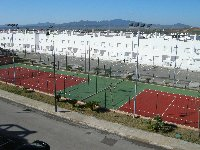 View of tennis courts from terrace