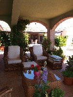Outdoor shaded seating area