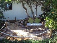 Some welcome shade under the olive tree