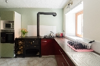 With wood burning stove oven and hob