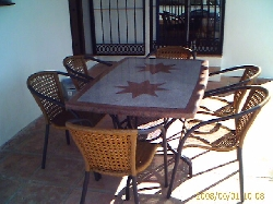 Outside table and chairs for dining