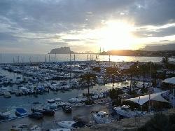 Moraira marina and view to Calpe rock