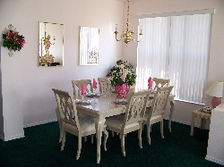 The dining area comfortably seats eight