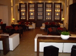 The clubhouse lounge area at night