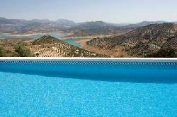 View over the pool to Lake Iznajar