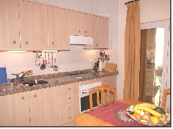 Kitchen with part of balcony with flower
