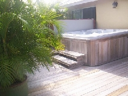Hot tub on second floor deck