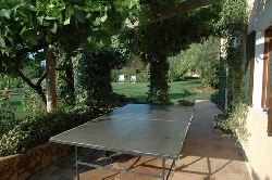 Table tennis  on the patio.
